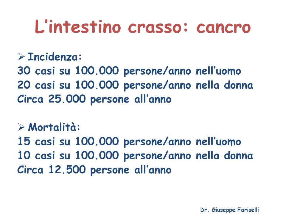 L'intestino crasso: cancro