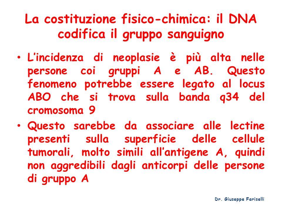 La costituzione fisico-chimica: il DNA codifica il gruppo sanguigno