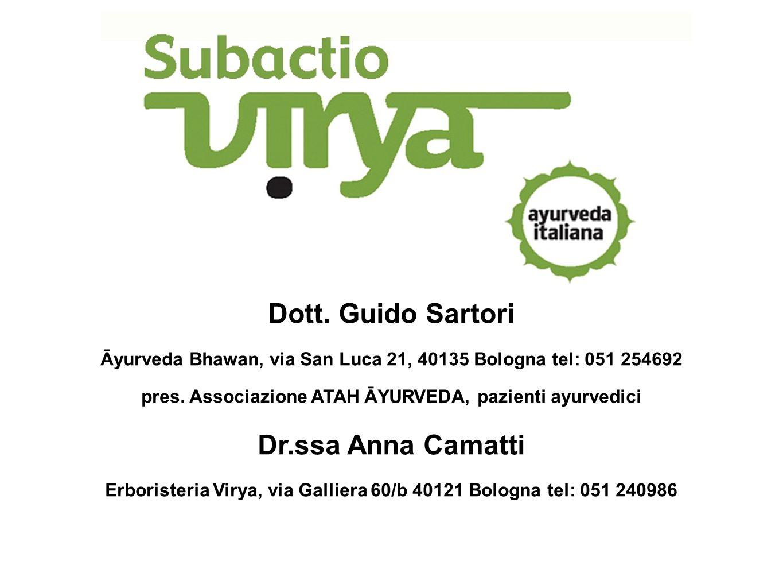 Dott. Guido Sartori Āyurveda Bhawan, via San Luca 21, 40135 Bologna tel: 051 254692 pres.