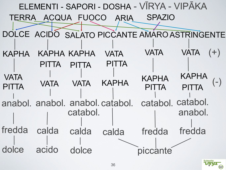 ELEMENTI - SAPORI - DOSHA - VĪRYA - VIPĀKA