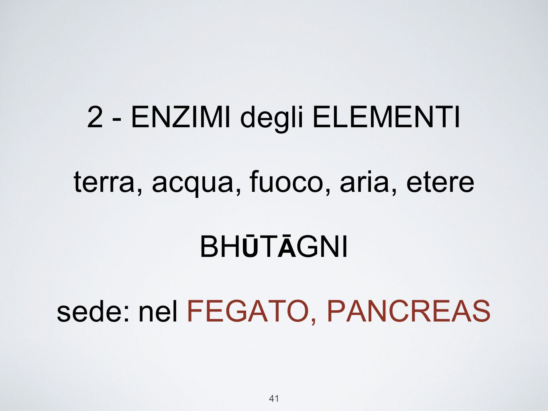 2 - ENZIMI degli ELEMENTI terra, acqua, fuoco, aria, etere BHŪTĀGNI sede: nel FEGATO, PANCREAS