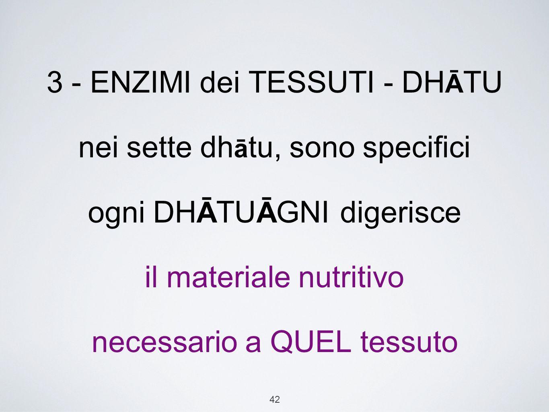 3 - ENZIMI dei TESSUTI - DHĀTU nei sette dhātu, sono specifici ogni DHĀTUĀGNI digerisce il materiale nutritivo necessario a QUEL tessuto