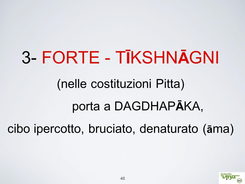 3- FORTE - TĪKSHNĀGNI (nelle costituzioni Pitta)