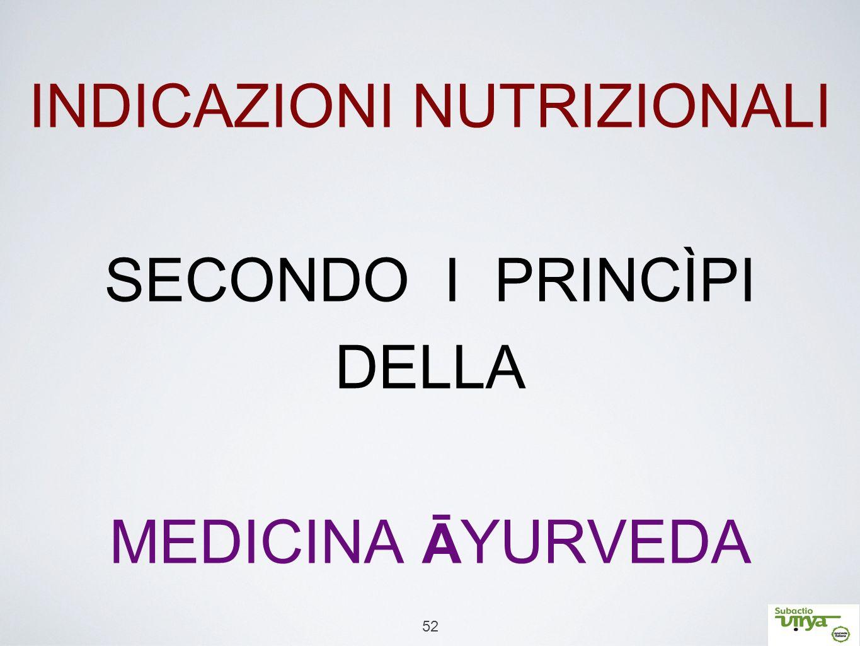 INDICAZIONI NUTRIZIONALI SECONDO I PRINCÌPI DELLA MEDICINA ĀYURVEDA