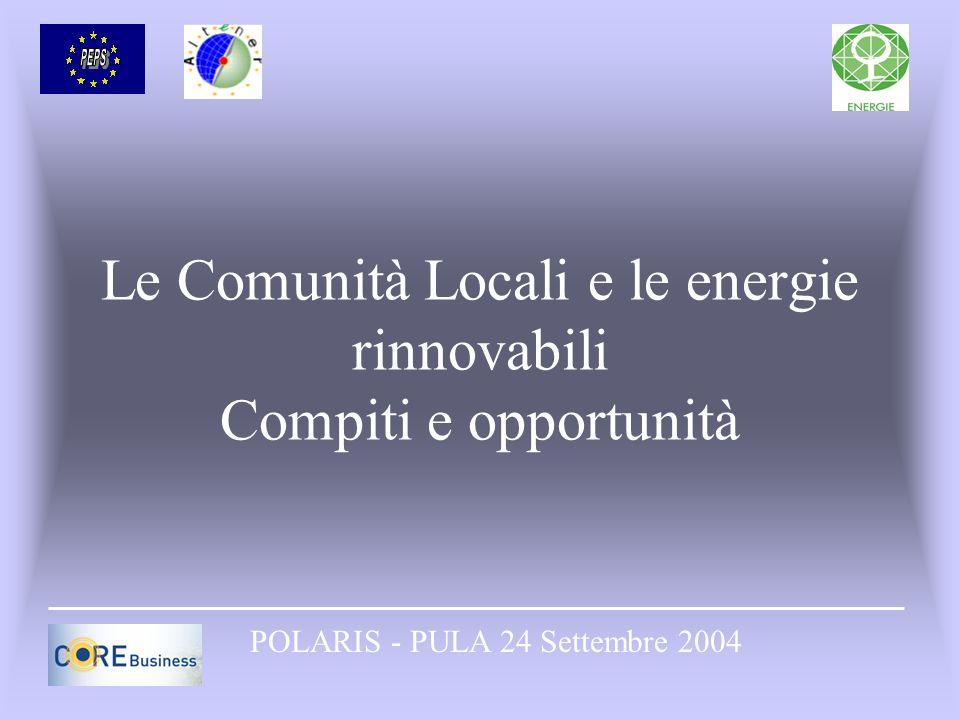 Le Comunità Locali e le energie rinnovabili Compiti e opportunità