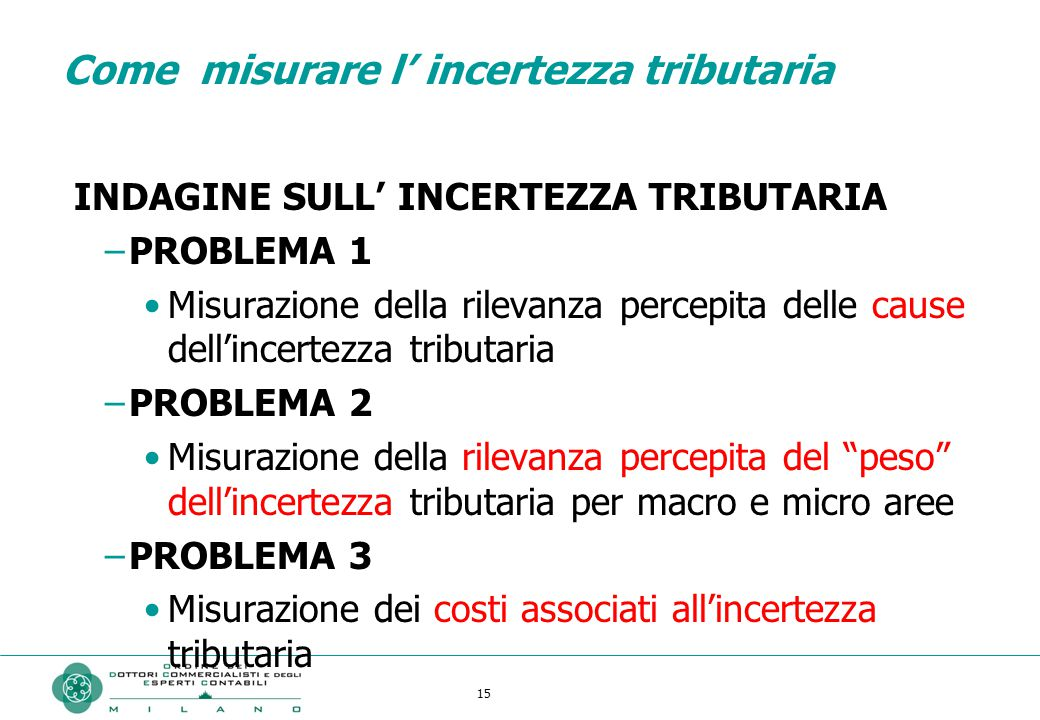 Come misurare l' incertezza tributaria