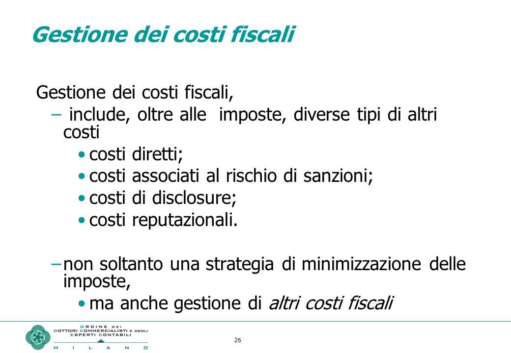 Gestione dei costi fiscali