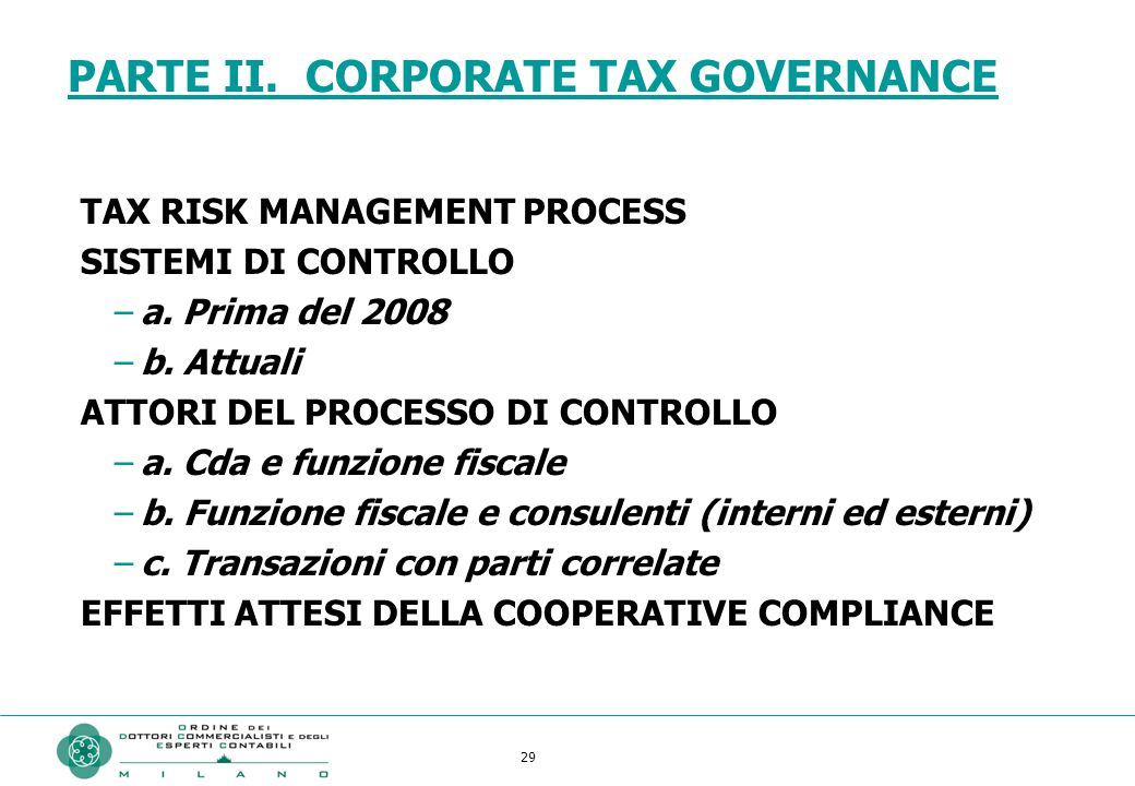 PARTE II. CORPORATE TAX GOVERNANCE