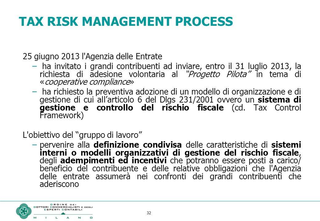 TAX RISK MANAGEMENT PROCESS