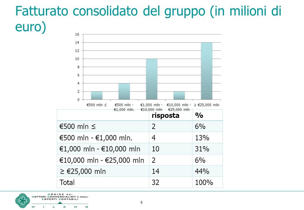 Fatturato consolidato del gruppo (in milioni di euro)