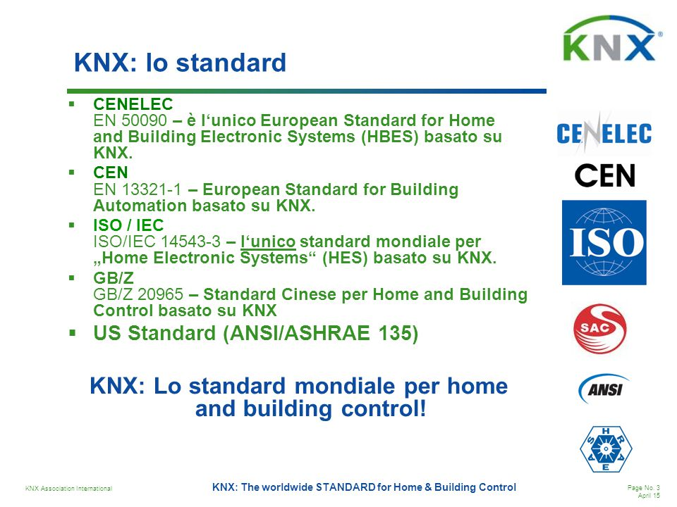 KNX: Lo standard mondiale per home and building control!