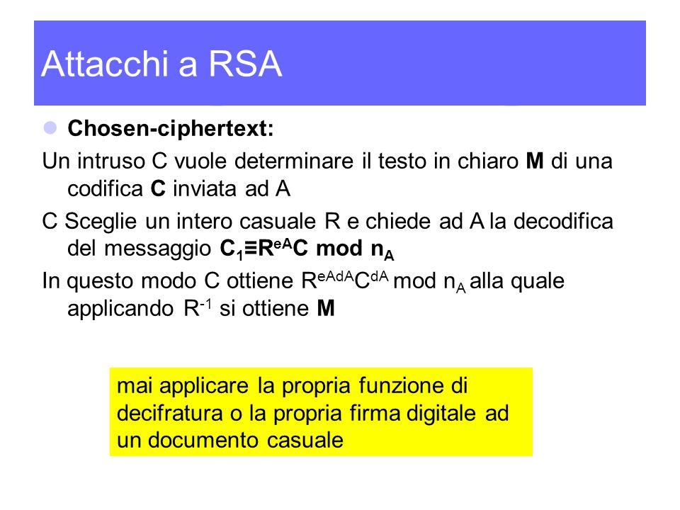 Attacchi a RSA Chosen-ciphertext: