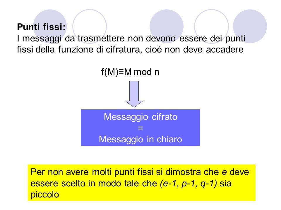 Punti fissi: I messaggi da trasmettere non devono essere dei punti fissi della funzione di cifratura, cioè non deve accadere f(M)≡M mod n