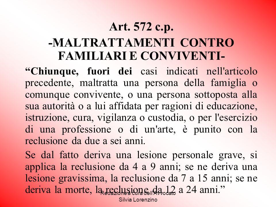 -MALTRATTAMENTI CONTRO FAMILIARI E CONVIVENTI-