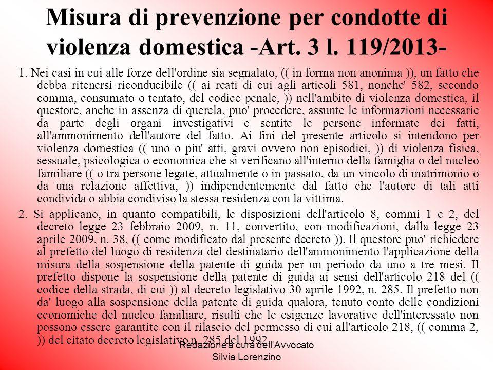 Redazione a cura dell Avvocato Silvia Lorenzino
