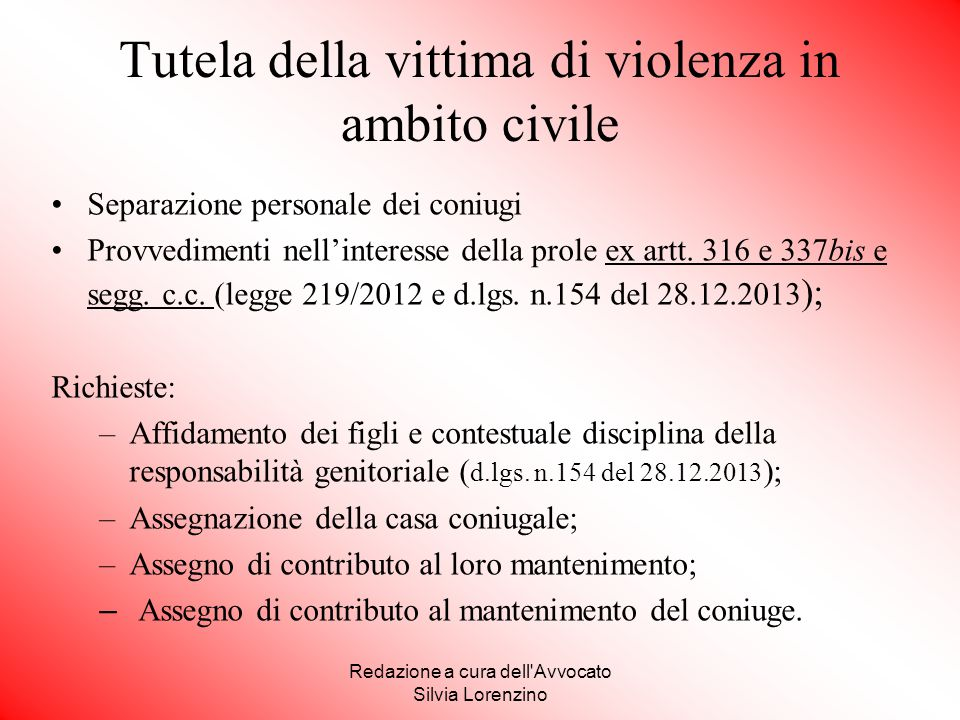 Tutela della vittima di violenza in ambito civile