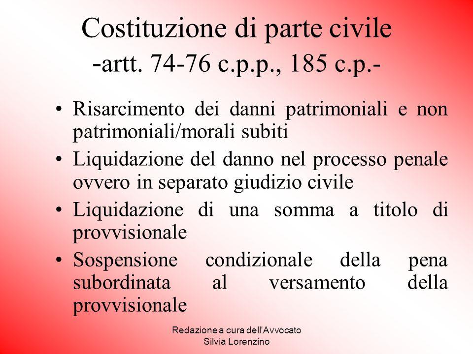 Costituzione di parte civile -artt. 74-76 c.p.p., 185 c.p.-