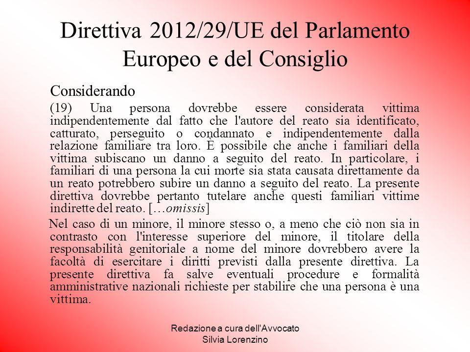 Direttiva 2012/29/UE del Parlamento Europeo e del Consiglio