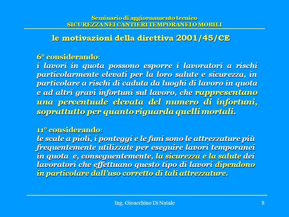 le motivazioni della direttiva 2001/45/CE