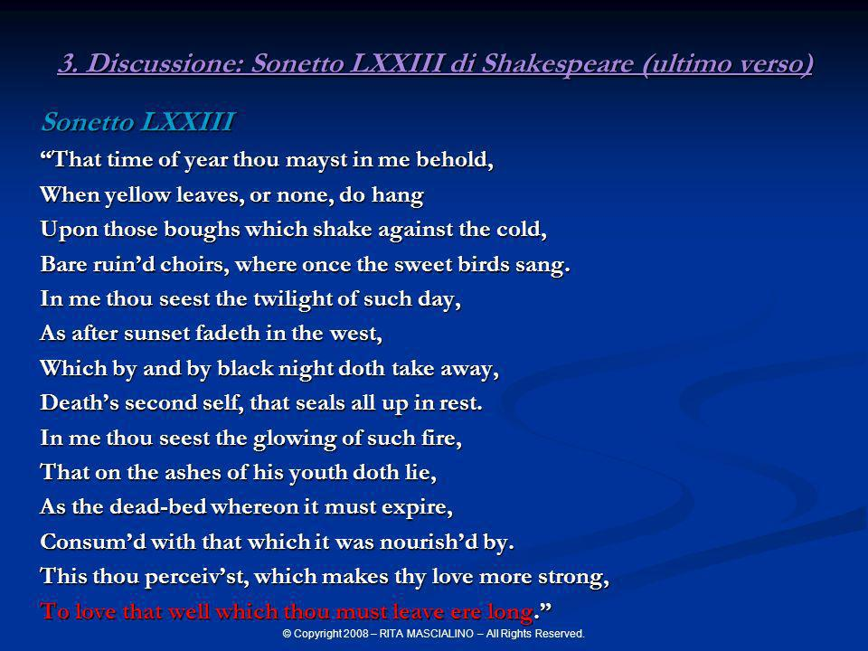 3. Discussione: Sonetto LXXIII di Shakespeare (ultimo verso)