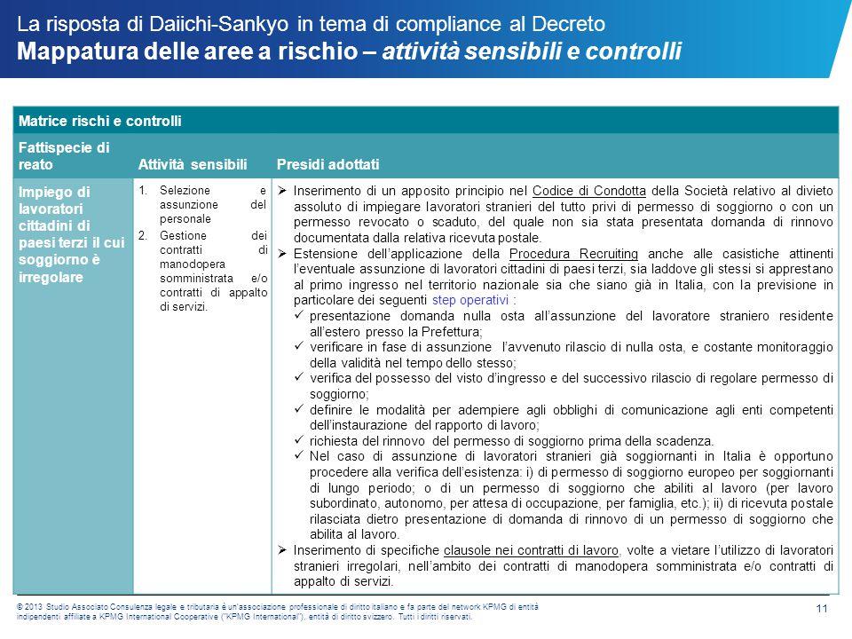 La risposta di Daiichi-Sankyo in tema di compliance al Decreto Mappatura delle aree a rischio – attività sensibili e controlli