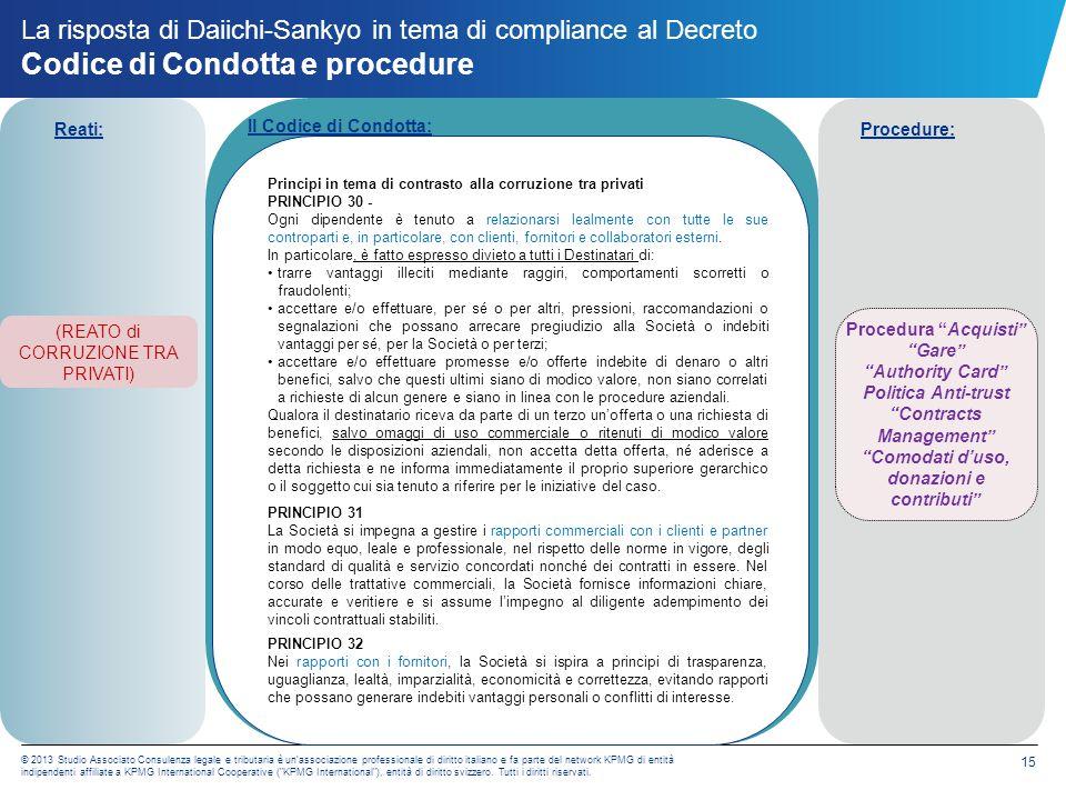La risposta di Daiichi-Sankyo in tema di compliance al Decreto Codice di Condotta e procedure
