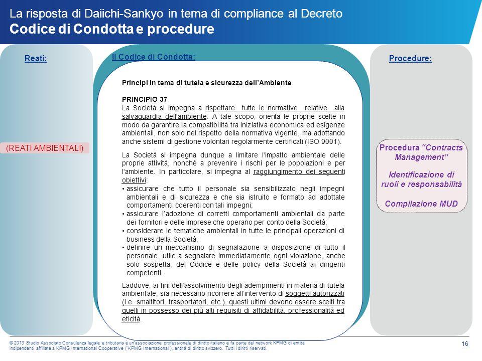 La risposta di Daiichi-Sankyo in tema di compliance al Decreto Flussi informativi nei confronti dell OdV