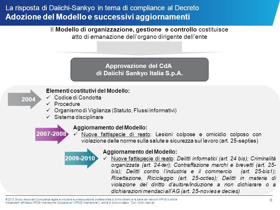 La risposta di Daiichi-Sankyo in tema di compliance al Decreto Adozione del Modello e successivi aggiornamenti