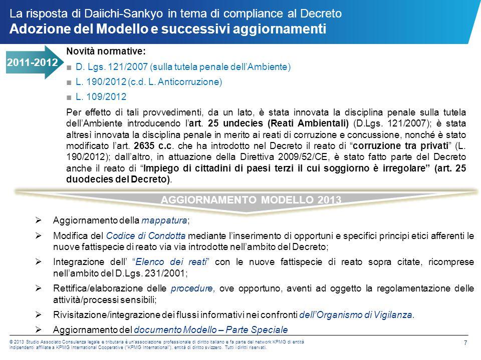 La risposta di Daiichi-Sankyo in tema di compliance al Decreto Mappatura delle aree a rischio - interviste
