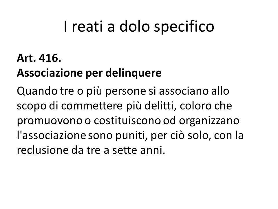 I reati a dolo specifico