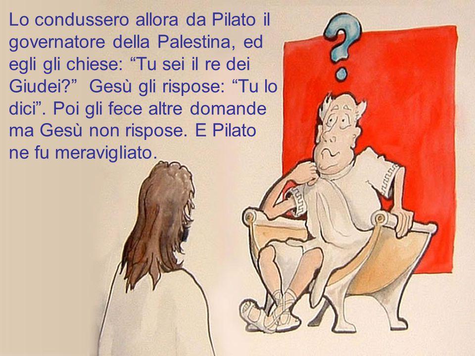 Lo condussero allora da Pilato il governatore della Palestina, ed egli gli chiese: Tu sei il re dei Giudei Gesù gli rispose: Tu lo dici .