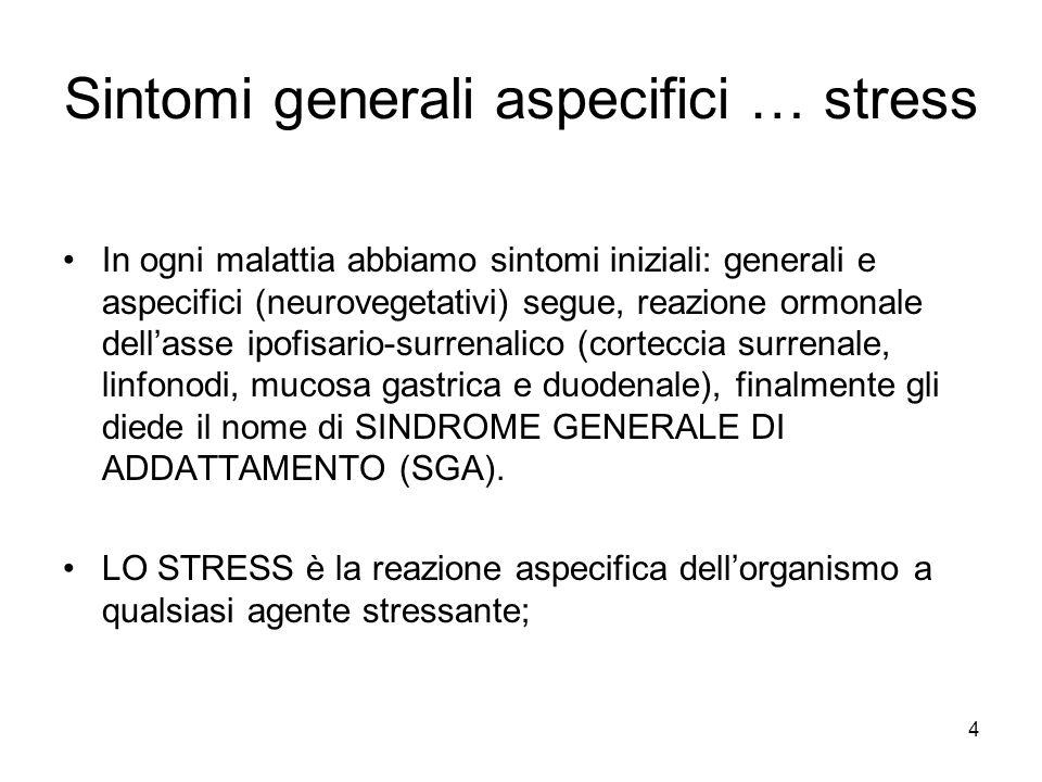 Sintomi generali aspecifici … stress