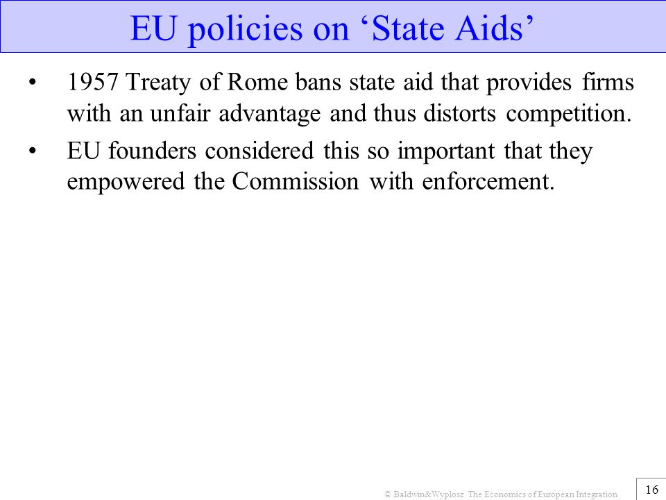 EU policies on 'State Aids'