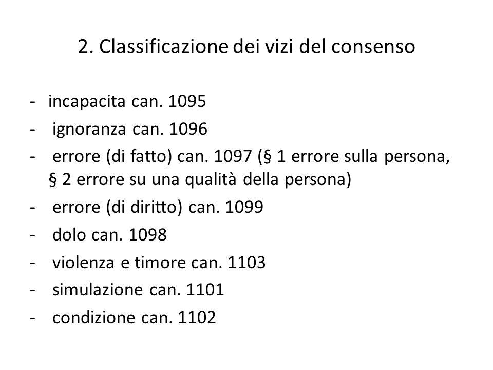 2. Classificazione dei vizi del consenso
