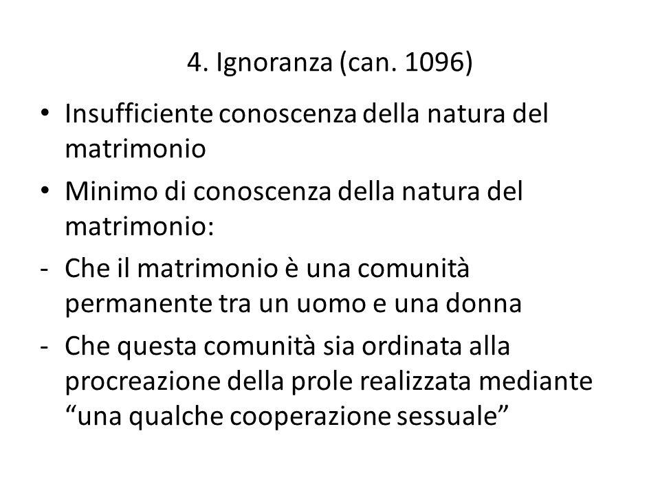 4. Ignoranza (can. 1096) Insufficiente conoscenza della natura del matrimonio. Minimo di conoscenza della natura del matrimonio: