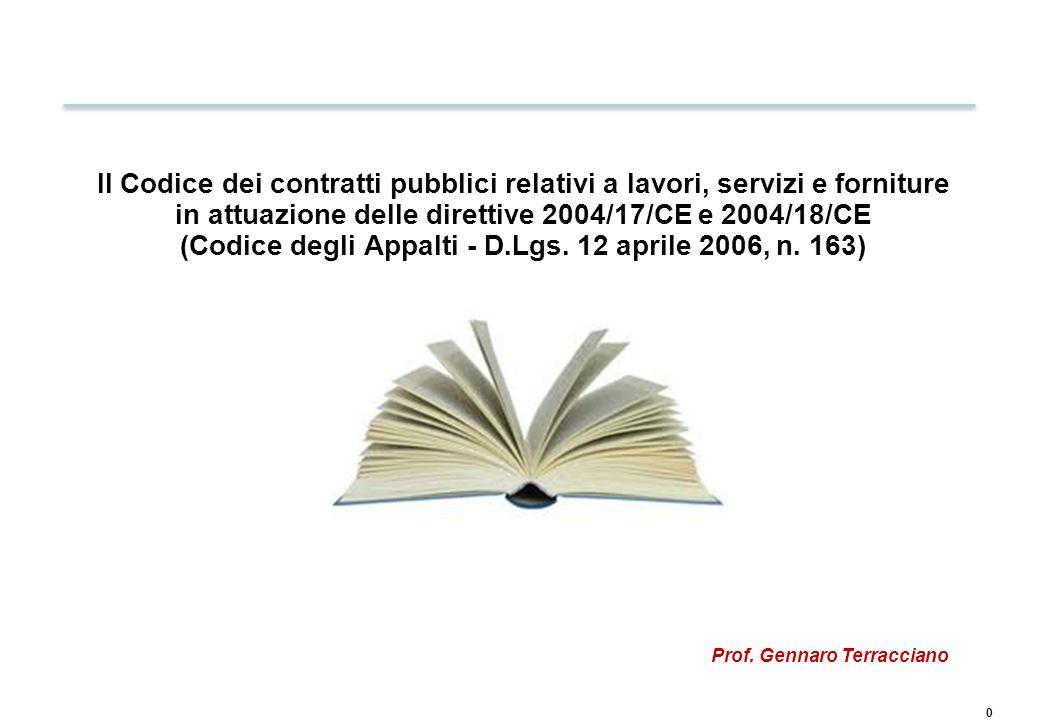 ARTICOLAZIONE DEL D. LGS. 163/2006