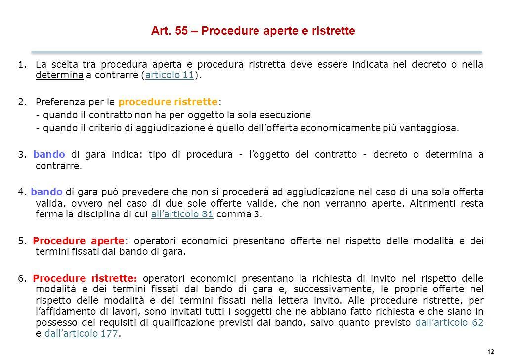 Art. 56 – Procedura negoziata previa pubblicazione di un bando di gara