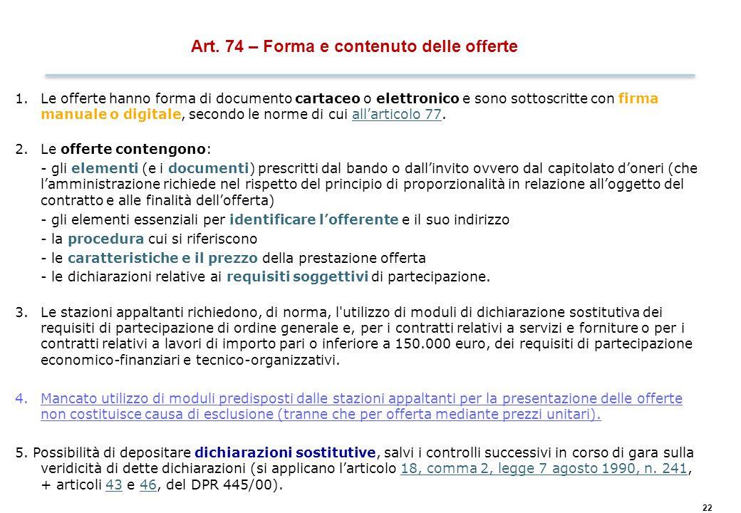 Art. 77 – Regole applicabili alle comunicazioni
