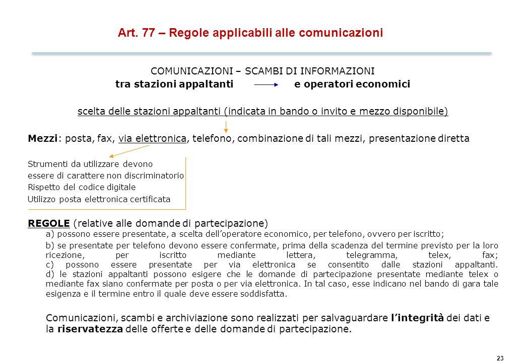 COMUNICAZIONI SU RICHIESTA DELLE PARTI INTERESSATE: