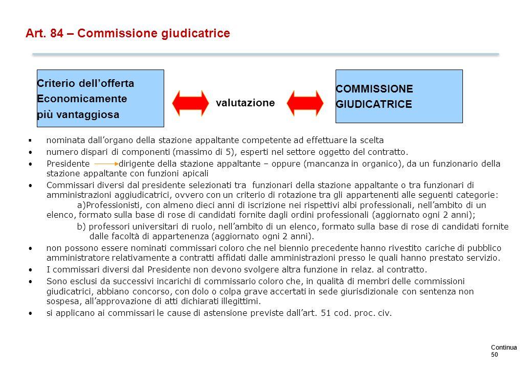 …(segue) La nomina dei commissari e la costituzione della commissione devono avvenire dopo la.