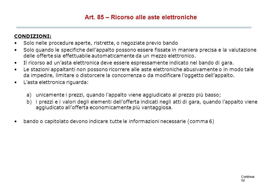 Art. 85 - Ricorso alle aste elettroniche - procedimento