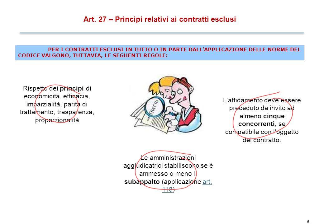 Art. 28 – Importi delle soglie dei contratti pubblici
