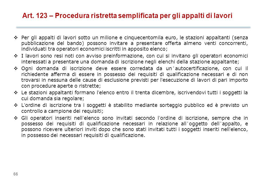 Art. 124 – Appalti di servizi e forniture sotto soglia
