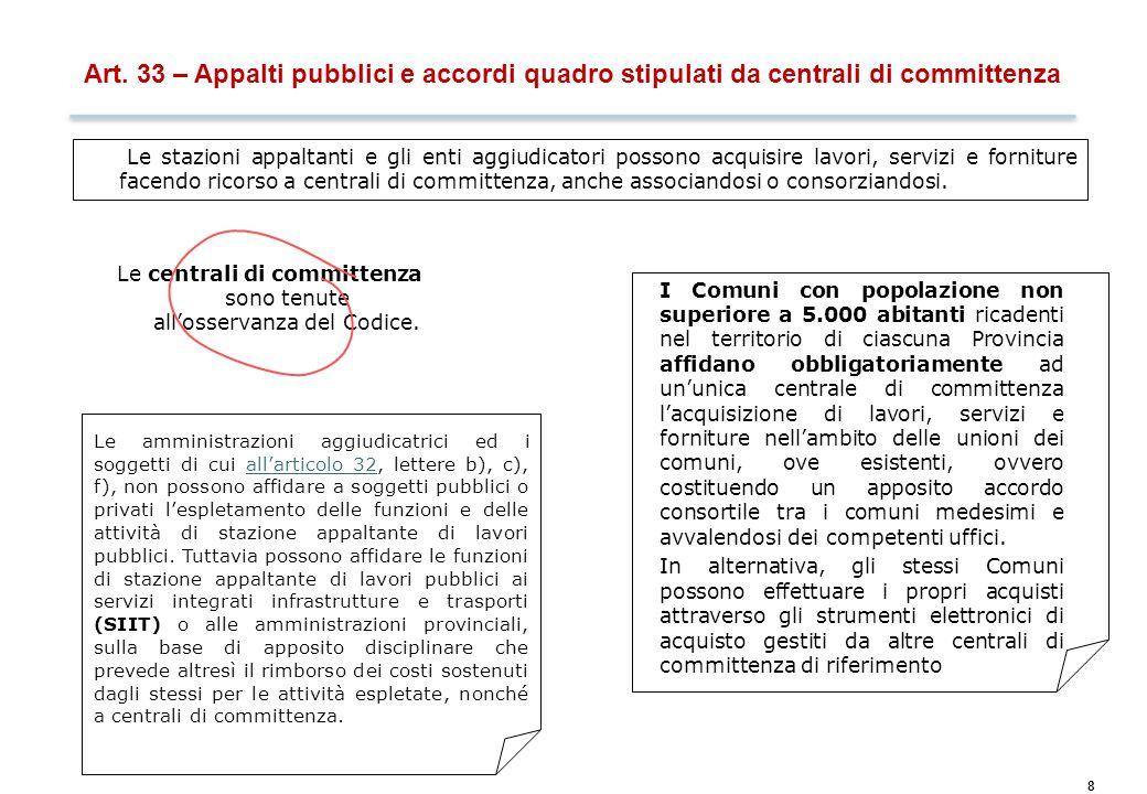 Art. 34 – Soggetti a cui possono essere affidati i contratti pubblici
