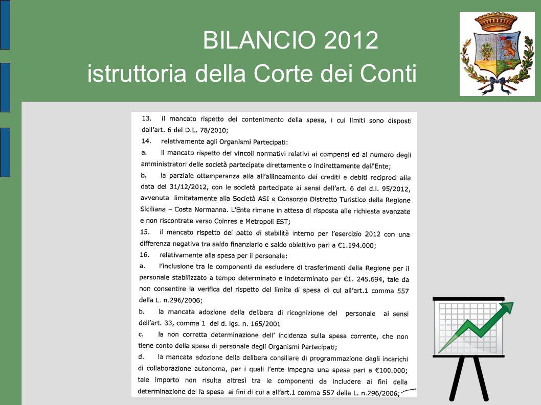 BILANCIO 2012 istruttoria della Corte dei Conti