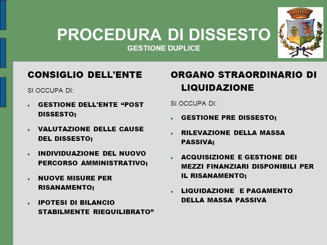 PROCEDURA DI DISSESTO GESTIONE DUPLICE