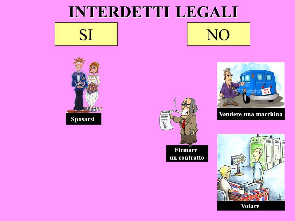 INTERDETTI LEGALI SI NO Vendere una macchina Sposarsi Firmare