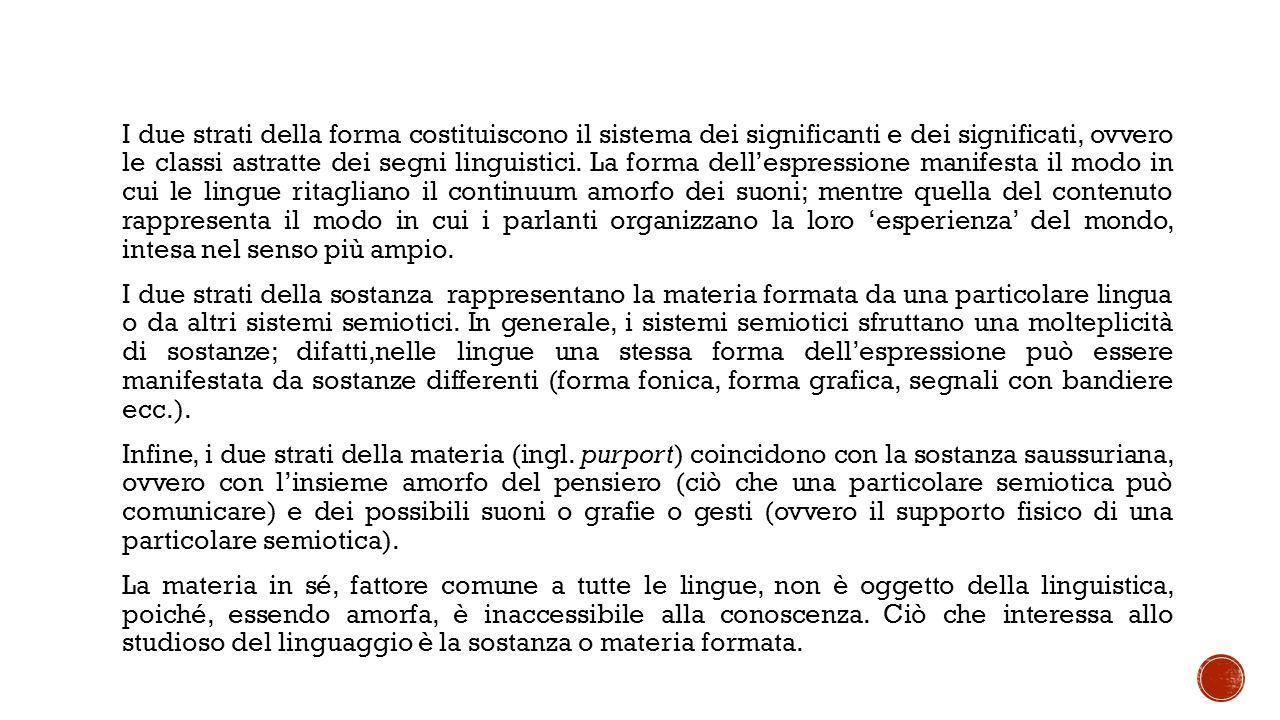 I due strati della forma costituiscono il sistema dei significanti e dei significati, ovvero le classi astratte dei segni linguistici.