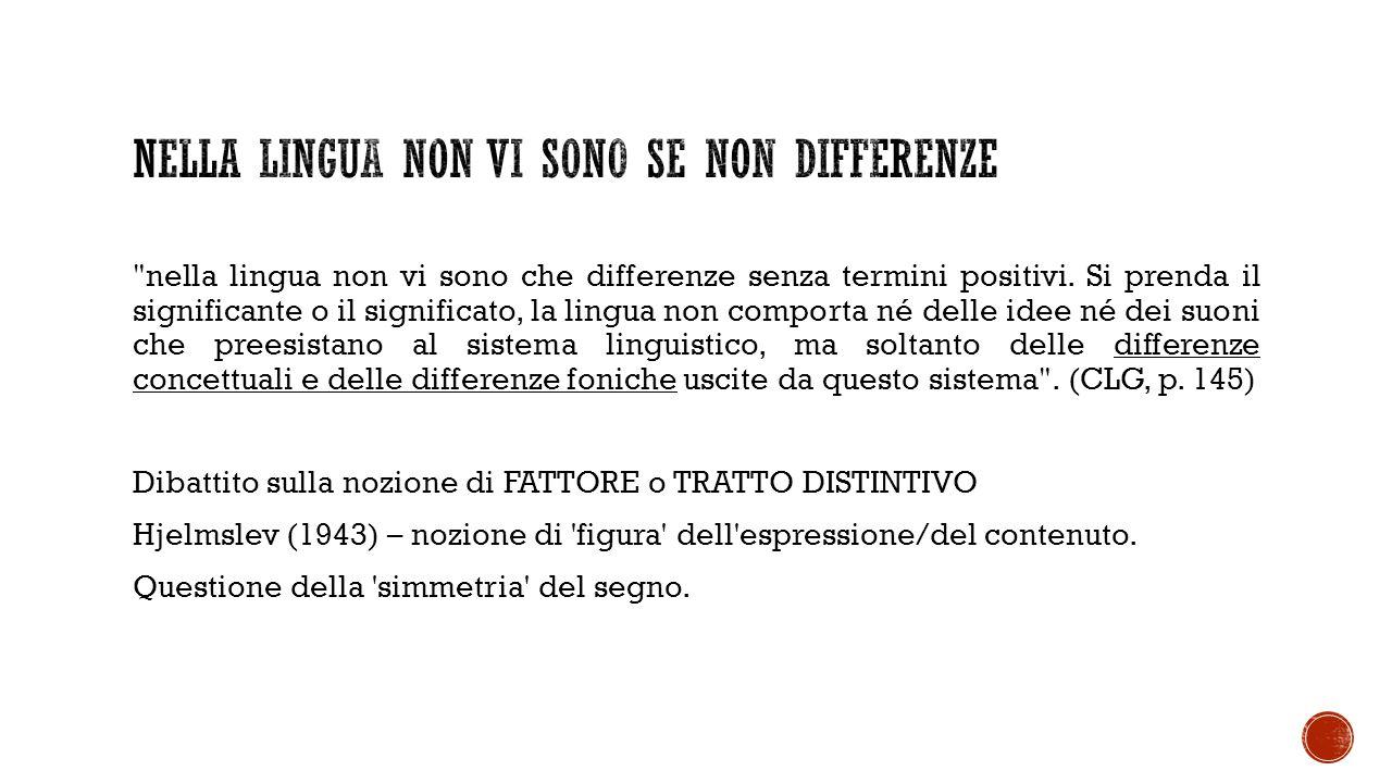 Nella lingua non vi sono se non differenze