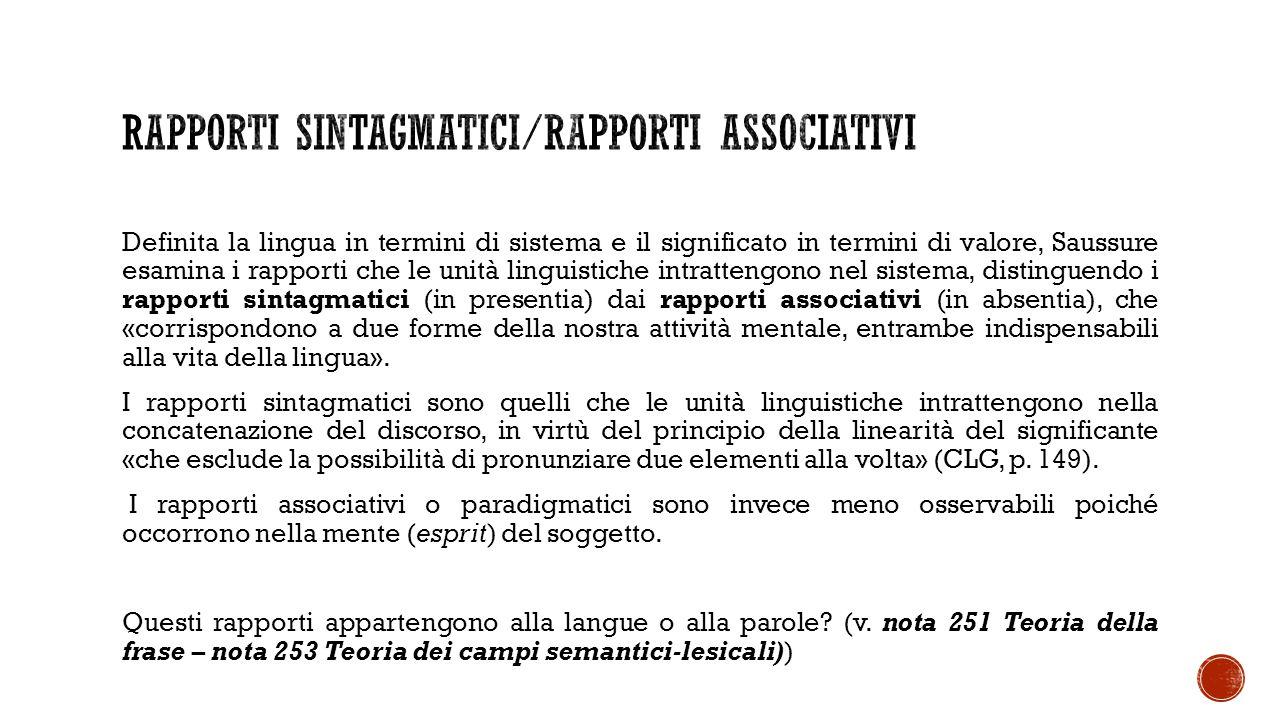 Rapporti sintagmatici/rapporti associativi